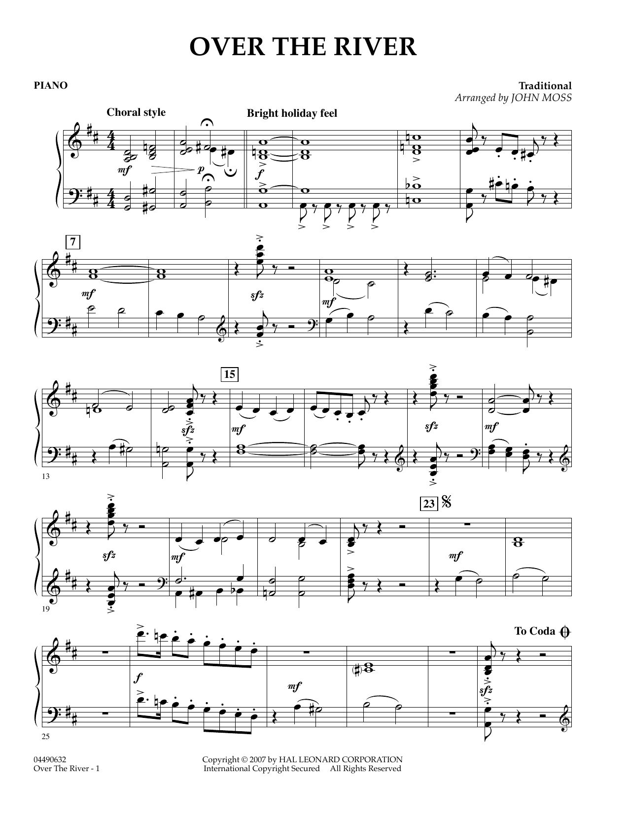 John Moss Over the River - Percussion 1 sheet music preview music notes and score for Concert Band including 1 page(s)
