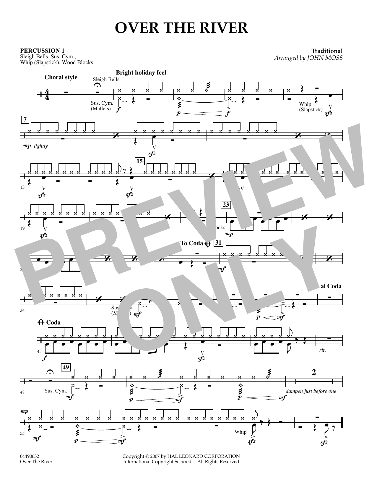 John Moss Over the River - Percussion 2 sheet music preview music notes and score for Concert Band including 1 page(s)