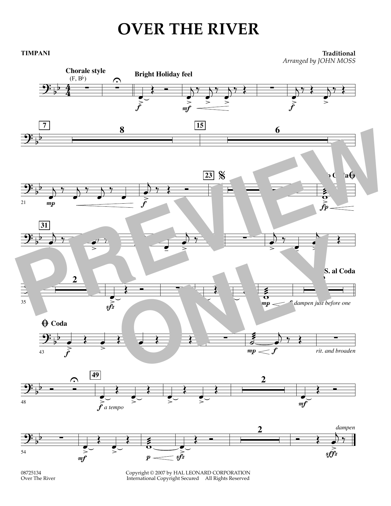 John Moss Over the River - Timpani sheet music preview music notes and score for Concert Band including 1 page(s)