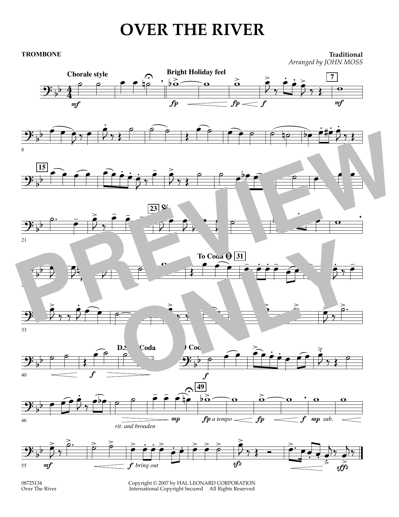 John Moss Over the River - Trombone sheet music preview music notes and score for Concert Band including 1 page(s)