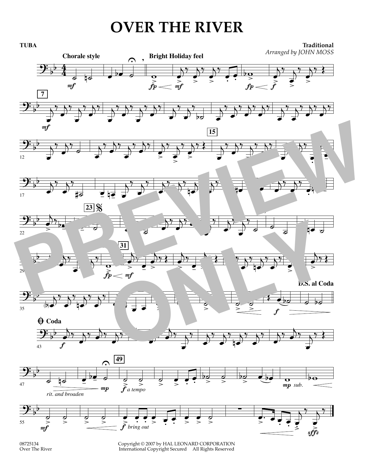 John Moss Over the River - Tuba sheet music preview music notes and score for Concert Band including 1 page(s)