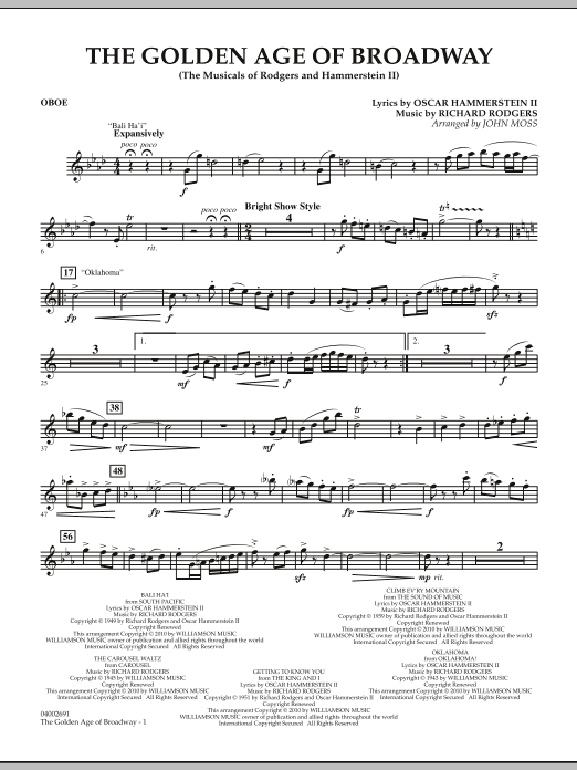 Download John Moss 'The Golden Age Of Broadway - Oboe' Digital Sheet Music Notes & Chords and start playing in minutes
