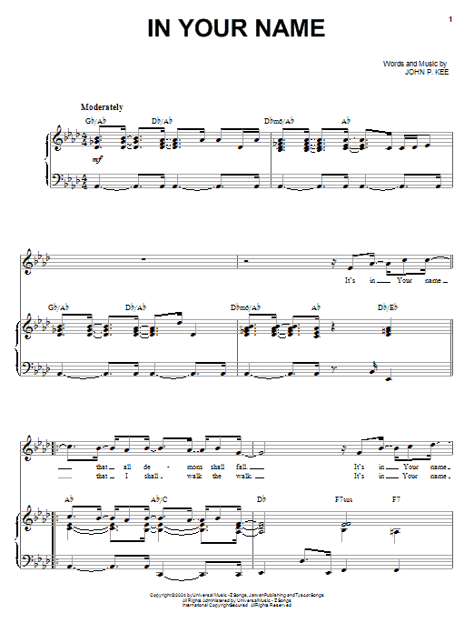 John P. Kee In Your Name sheet music preview music notes and score for Piano, Vocal & Guitar (Right-Hand Melody) including 10 page(s)