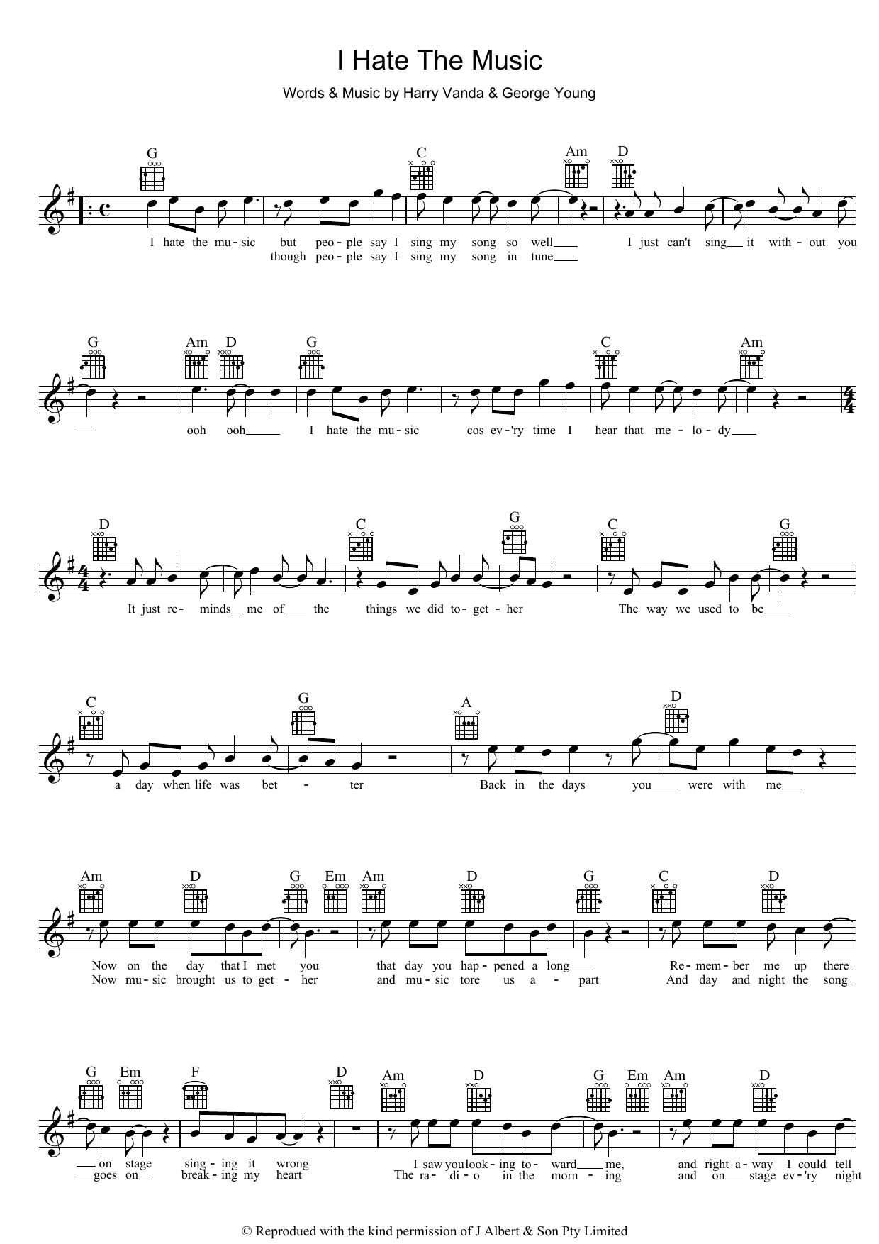 John Paul Young I Hate The Music sheet music preview music notes and score for Piano, Vocal & Guitar (Right-Hand Melody) including 2 page(s)