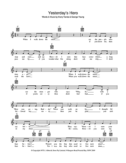 John Paul Young Yesterday's Hero sheet music preview music notes and score for Melody Line, Lyrics & Chords including 2 page(s)