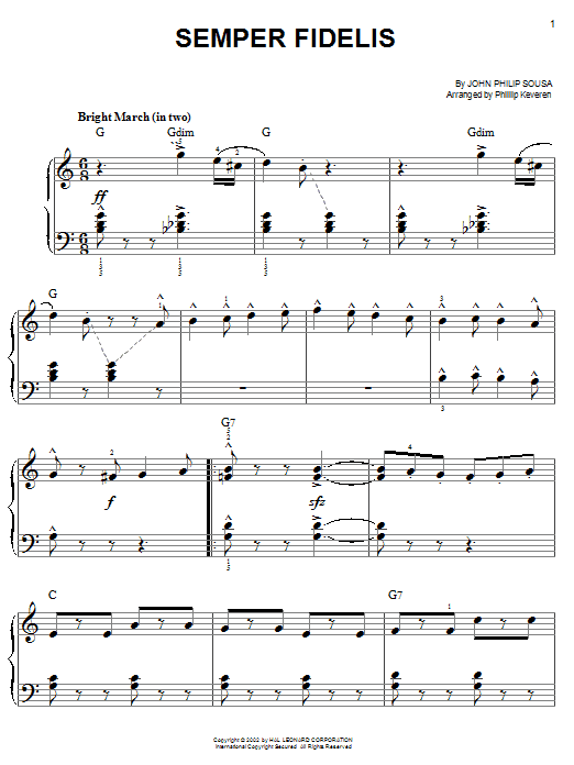 Download John Philip Sousa 'Semper Fidelis' Digital Sheet Music Notes & Chords and start playing in minutes