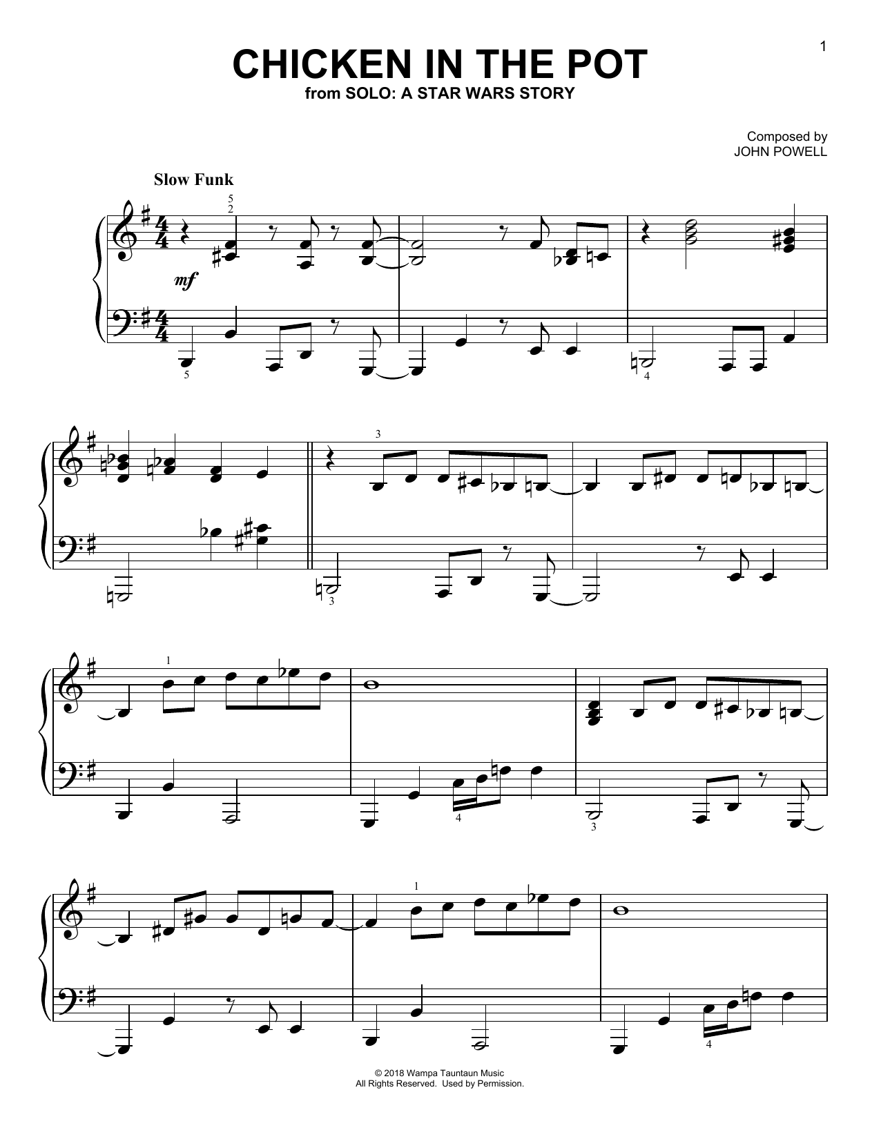 Download John Powell 'Chicken In The Pot' Digital Sheet Music Notes & Chords and start playing in minutes