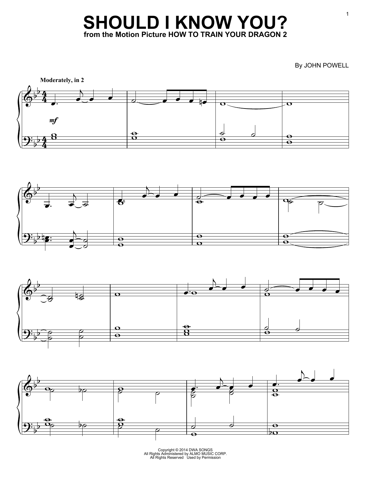 Download John Powell 'Should I Know You?' Digital Sheet Music Notes & Chords and start playing in minutes