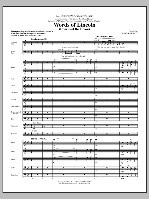 John Purifoy Words of Lincoln - Full Score sheet music notes and chords