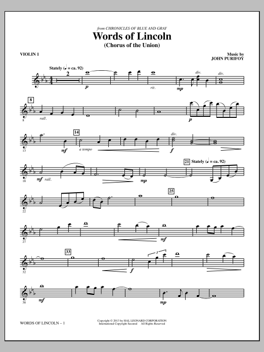 John Purifoy Words of Lincoln - Violin 1 sheet music notes and chords