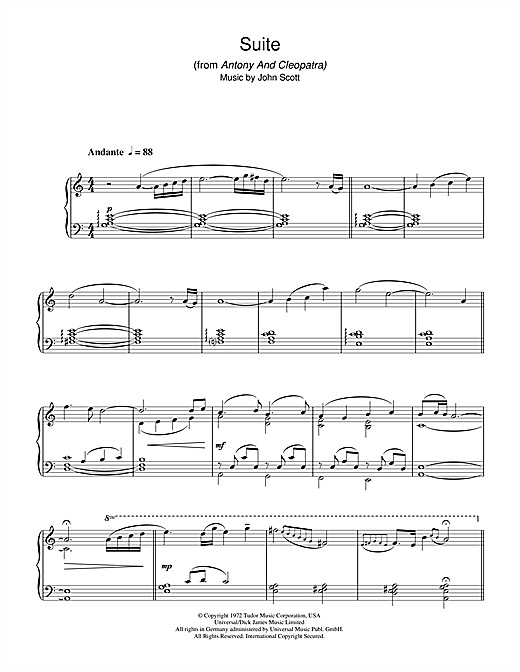 Download John Scott 'Suite (from Antony And Cleopatra)' Digital Sheet Music Notes & Chords and start playing in minutes