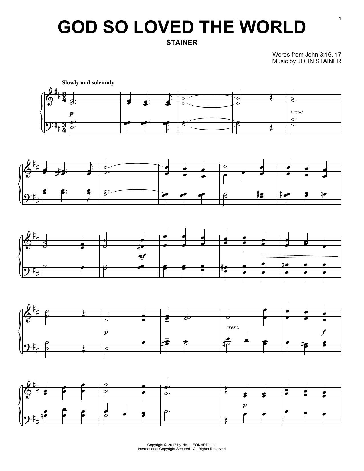 Download John Stainer 'God So Loved The World' Digital Sheet Music Notes & Chords and start playing in minutes