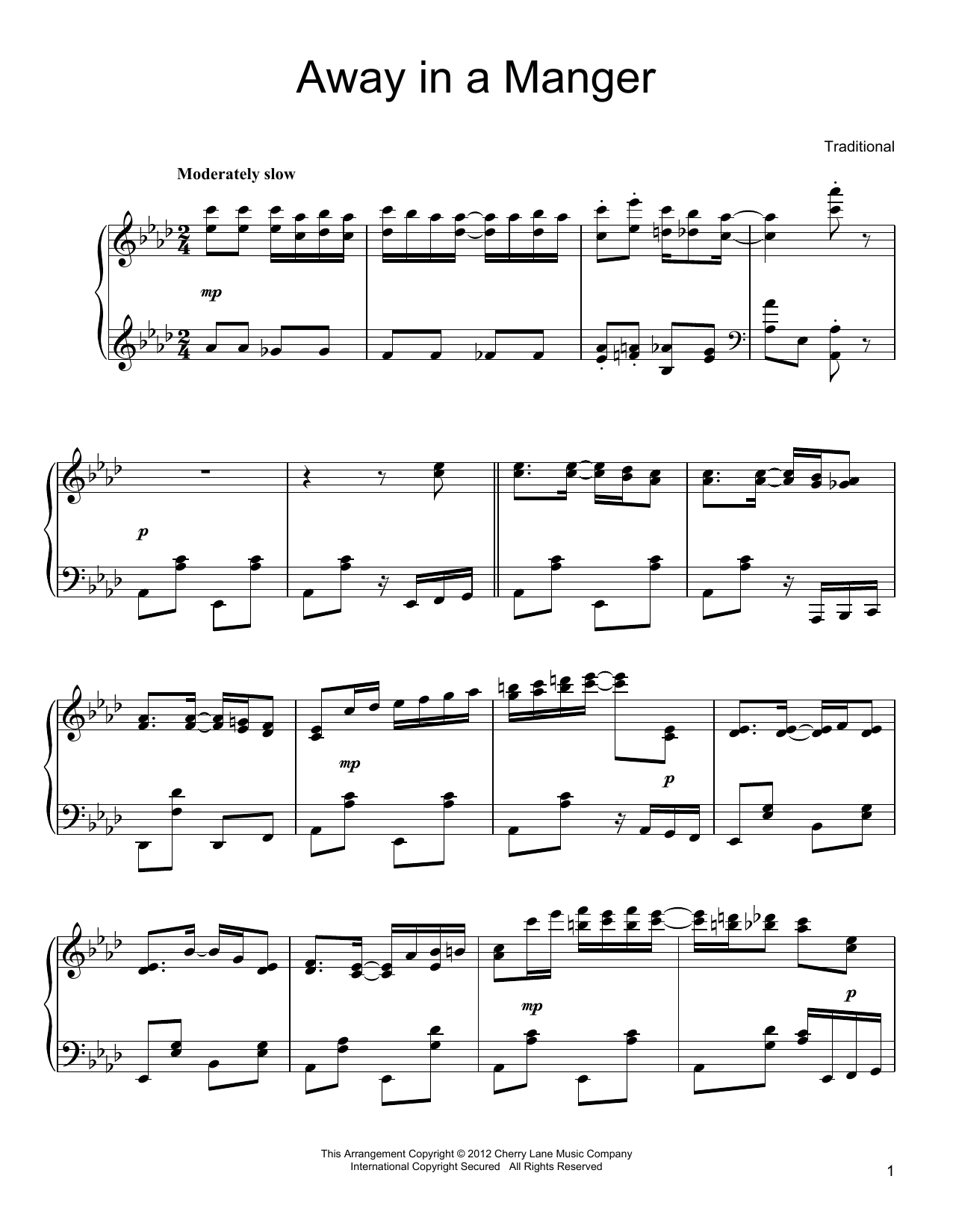 John T. McFarland Away In A Manger sheet music preview music notes and score for Piano including 3 page(s)