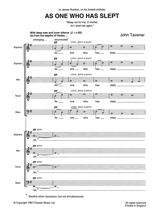 Download John Tavener 'As One Who Has Slept' Digital Sheet Music Notes & Chords and start playing in minutes