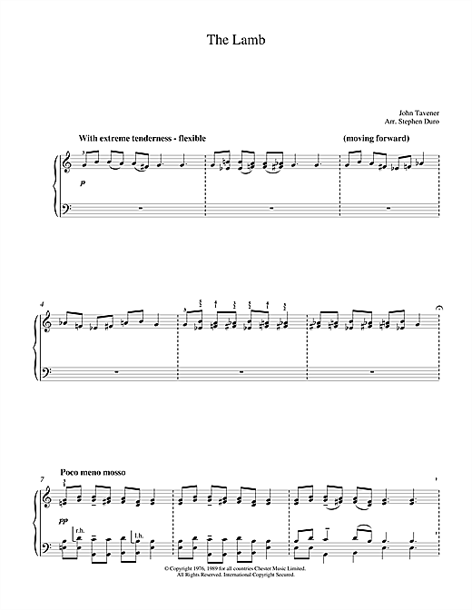 Download John Tavener 'The Lamb' Digital Sheet Music Notes & Chords and start playing in minutes