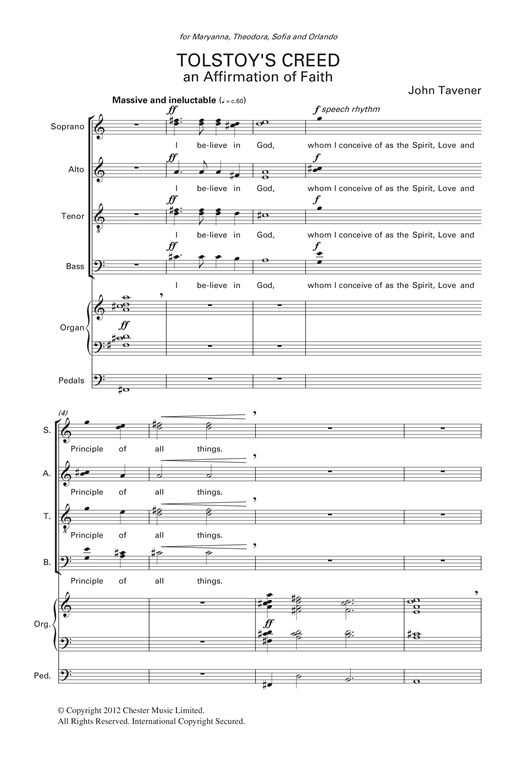 Download John Tavener 'Tolstoy's Creed' Digital Sheet Music Notes & Chords and start playing in minutes