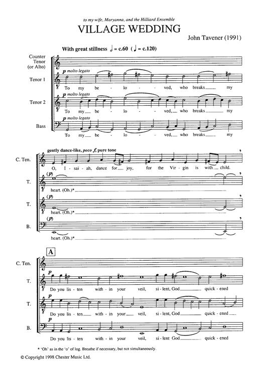 Download John Tavener 'Village Wedding' Digital Sheet Music Notes & Chords and start playing in minutes