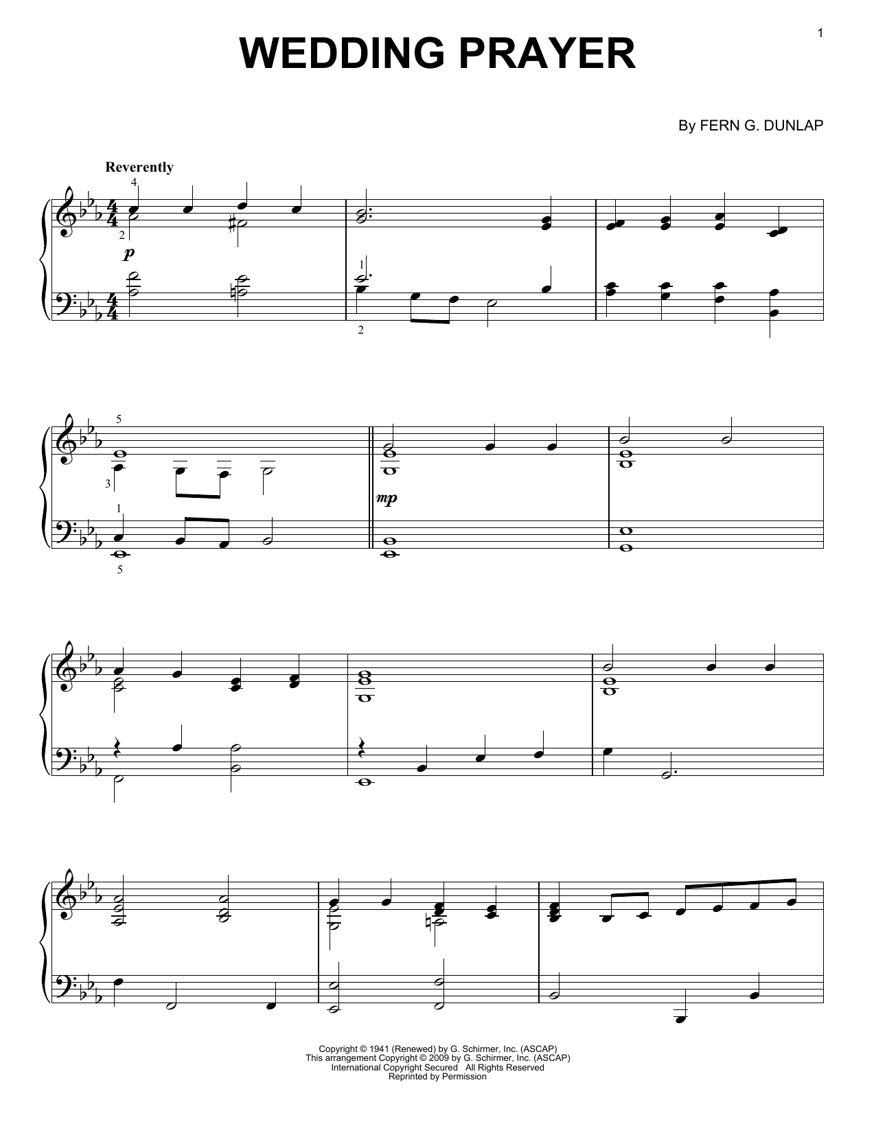Download Fern G. Dunlap 'Wedding Prayer' Digital Sheet Music Notes & Chords and start playing in minutes
