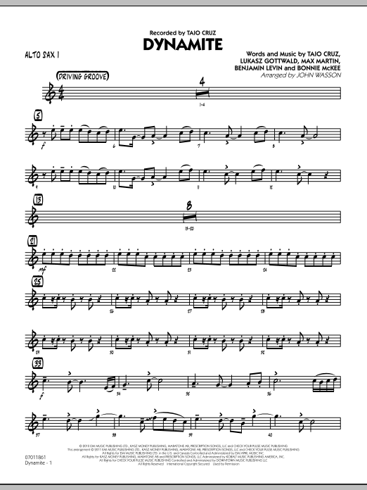 John Wasson Dynamite - Alto Sax 1 sheet music preview music notes and score for Jazz Ensemble including 2 page(s)