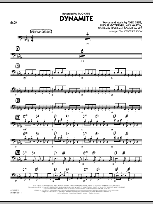 John Wasson Dynamite - Bass sheet music preview music notes and score for Jazz Ensemble including 2 page(s)