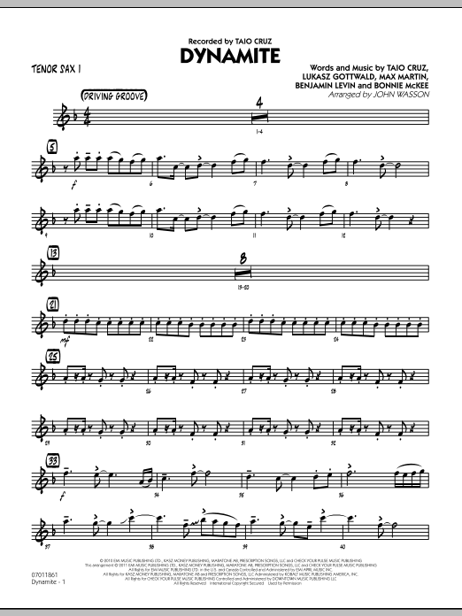 John Wasson Dynamite - Tenor Sax 1 sheet music preview music notes and score for Jazz Ensemble including 2 page(s)