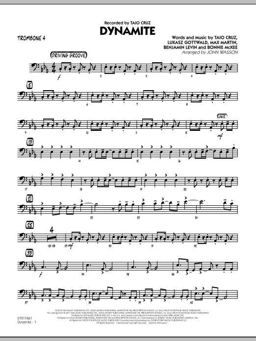 John Wasson Dynamite - Trombone 4 sheet music preview music notes and score for Jazz Ensemble including 2 page(s)