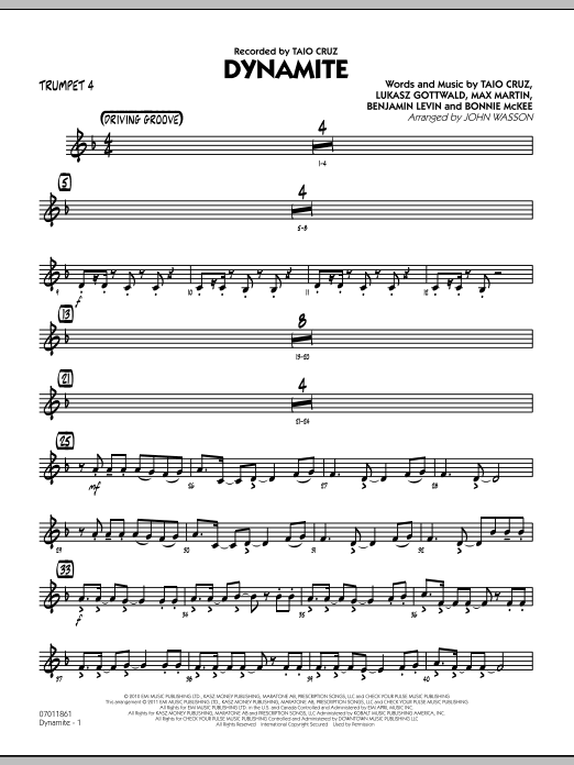 John Wasson Dynamite - Trumpet 4 sheet music preview music notes and score for Jazz Ensemble including 2 page(s)