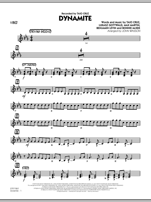 John Wasson Dynamite - Vibes sheet music preview music notes and score for Jazz Ensemble including 2 page(s)