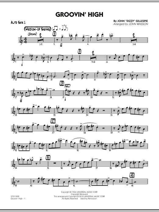 John Wasson Groovin' High - Alto Sax 1 sheet music preview music notes and score for Jazz Ensemble including 4 page(s)