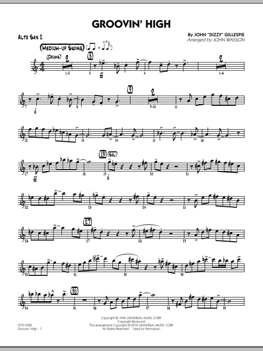 John Wasson Groovin' High - Alto Sax 2 sheet music preview music notes and score for Jazz Ensemble including 4 page(s)