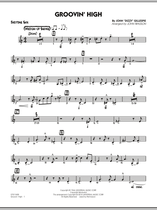 John Wasson Groovin' High - Baritone Sax sheet music preview music notes and score for Jazz Ensemble including 4 page(s)