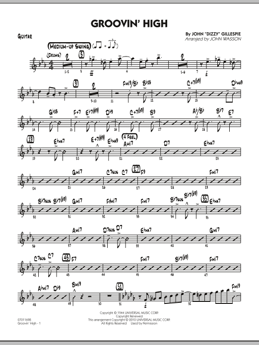 John Wasson Groovin' High - Guitar sheet music preview music notes and score for Jazz Ensemble including 4 page(s)