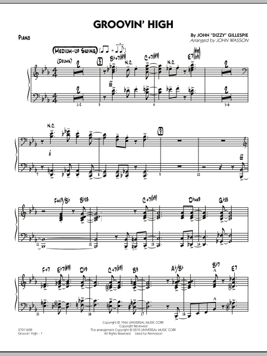 John Wasson Groovin' High - Piano sheet music preview music notes and score for Jazz Ensemble including 8 page(s)