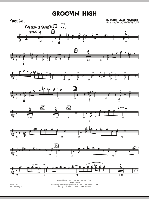 John Wasson Groovin' High - Tenor Sax 1 sheet music preview music notes and score for Jazz Ensemble including 4 page(s)