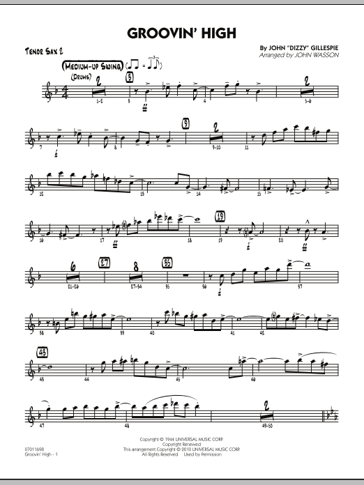 John Wasson Groovin' High - Tenor Sax 2 sheet music preview music notes and score for Jazz Ensemble including 4 page(s)