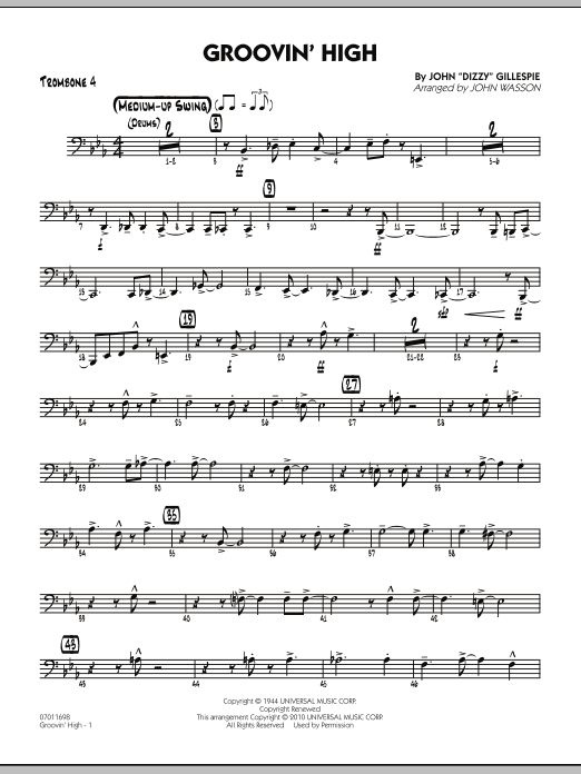 John Wasson Groovin' High - Trombone 4 sheet music preview music notes and score for Jazz Ensemble including 4 page(s)
