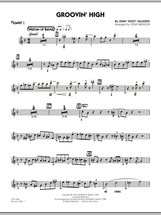John Wasson Groovin' High - Trumpet 1 sheet music preview music notes and score for Jazz Ensemble including 4 page(s)