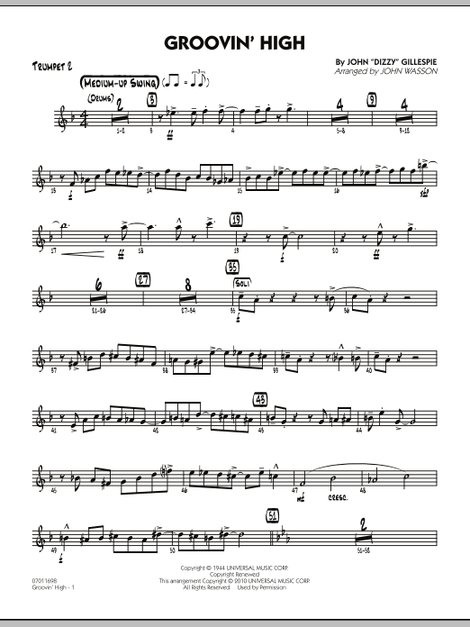John Wasson Groovin' High - Trumpet 2 sheet music preview music notes and score for Jazz Ensemble including 4 page(s)