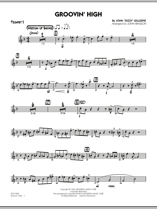 John Wasson Groovin' High - Trumpet 3 sheet music preview music notes and score for Jazz Ensemble including 4 page(s)