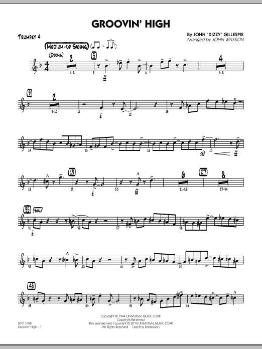John Wasson Groovin' High - Trumpet 4 sheet music preview music notes and score for Jazz Ensemble including 4 page(s)