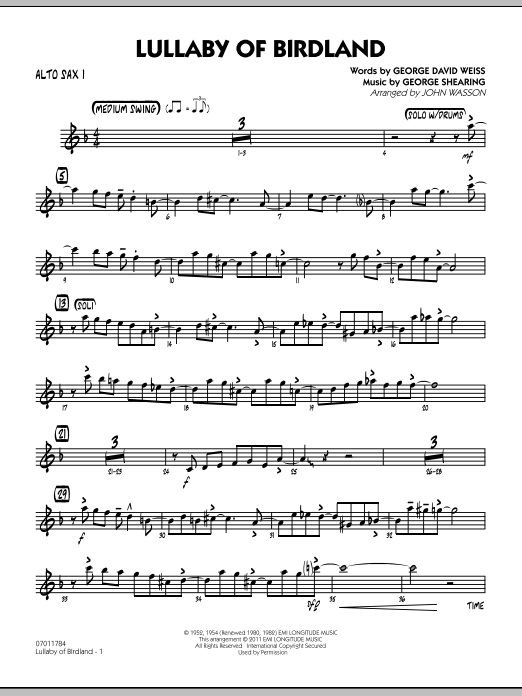 John Wasson Lullaby Of Birdland - Alto Sax 1 sheet music preview music notes and score for Jazz Ensemble including 3 page(s)