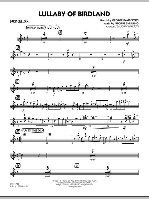 John Wasson Lullaby Of Birdland - Baritone Sax sheet music preview music notes and score for Jazz Ensemble including 3 page(s)