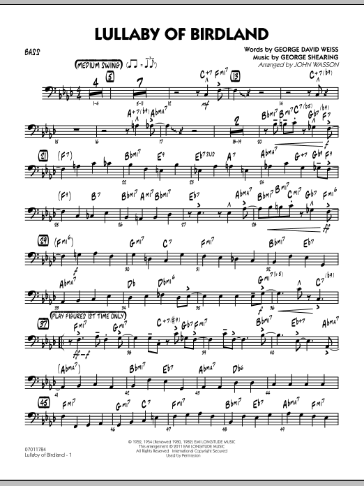 John Wasson Lullaby Of Birdland - Bass sheet music preview music notes and score for Jazz Ensemble including 3 page(s)
