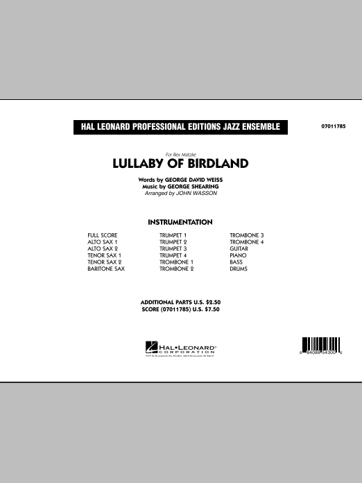 John Wasson Lullaby Of Birdland - Conductor Score (Full Score) sheet music preview music notes and score for Jazz Ensemble including 20 page(s)