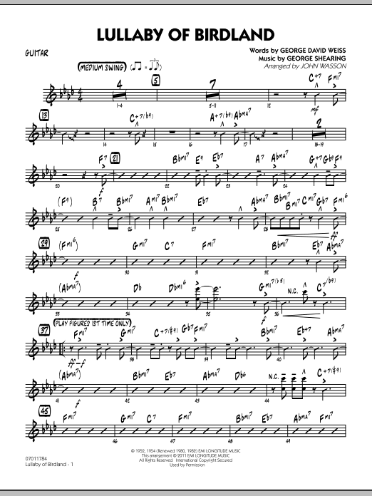 John Wasson Lullaby Of Birdland - Guitar sheet music preview music notes and score for Jazz Ensemble including 3 page(s)