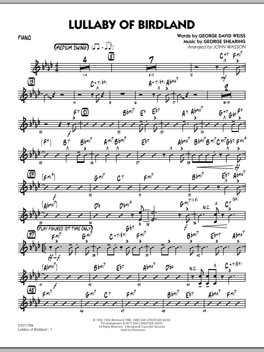 John Wasson Lullaby Of Birdland - Piano sheet music preview music notes and score for Jazz Ensemble including 3 page(s)