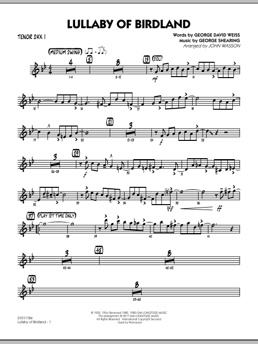 John Wasson Lullaby Of Birdland - Tenor Sax 1 sheet music preview music notes and score for Jazz Ensemble including 3 page(s)