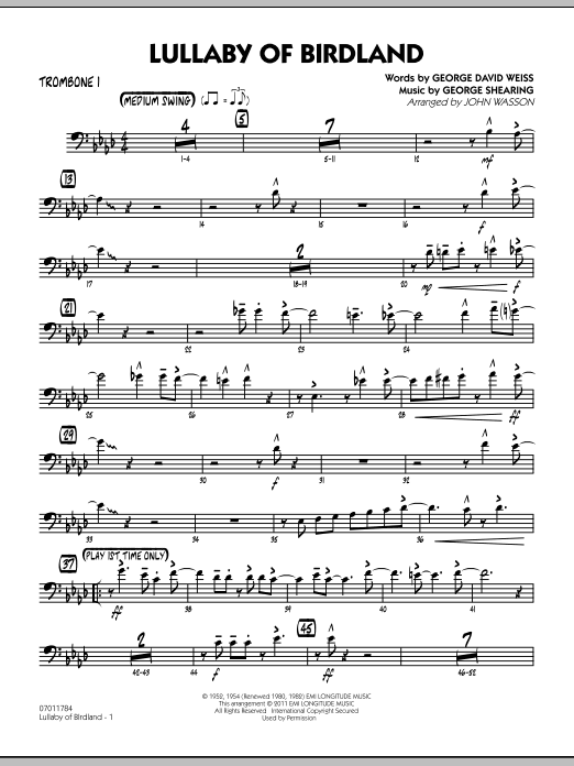 John Wasson Lullaby Of Birdland - Trombone 1 sheet music preview music notes and score for Jazz Ensemble including 3 page(s)