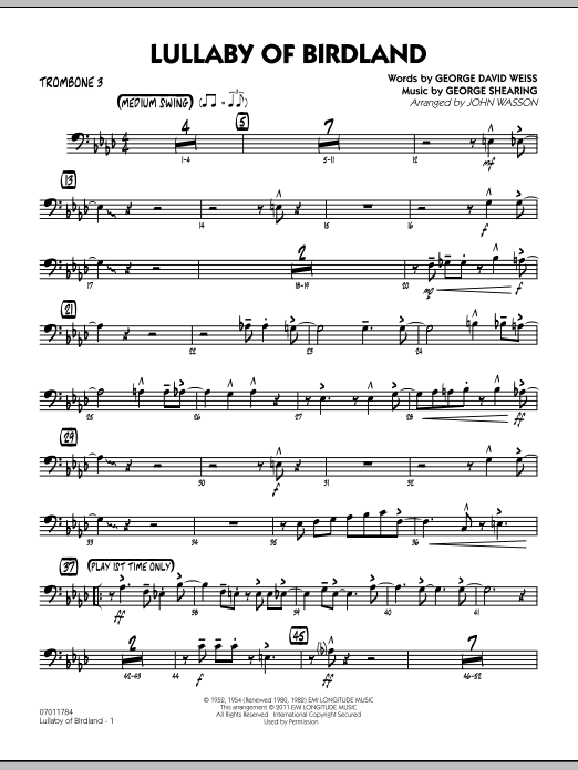 John Wasson Lullaby Of Birdland - Trombone 3 sheet music preview music notes and score for Jazz Ensemble including 3 page(s)