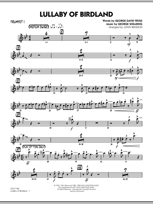 John Wasson Lullaby Of Birdland - Trumpet 1 sheet music preview music notes and score for Jazz Ensemble including 3 page(s)